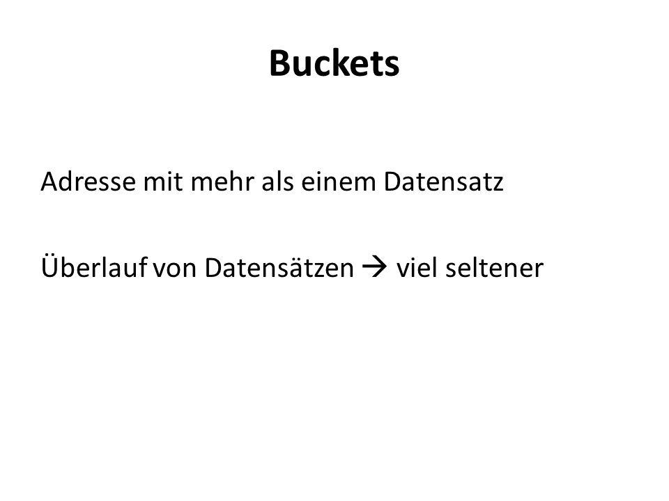 Buckets Adresse mit mehr als einem Datensatz