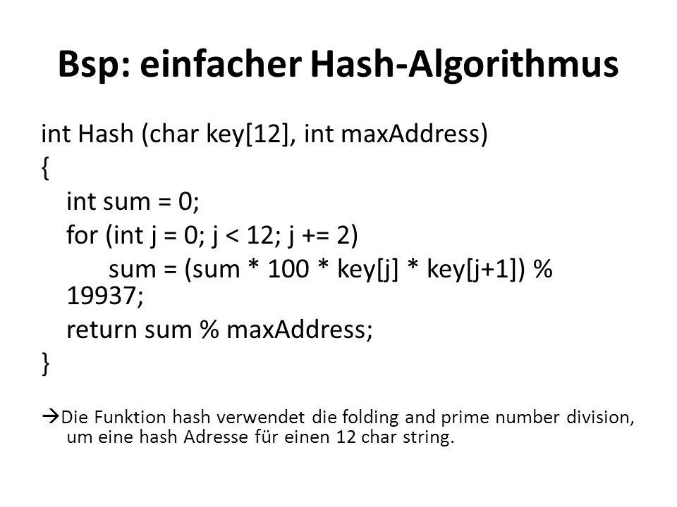 Bsp: einfacher Hash-Algorithmus