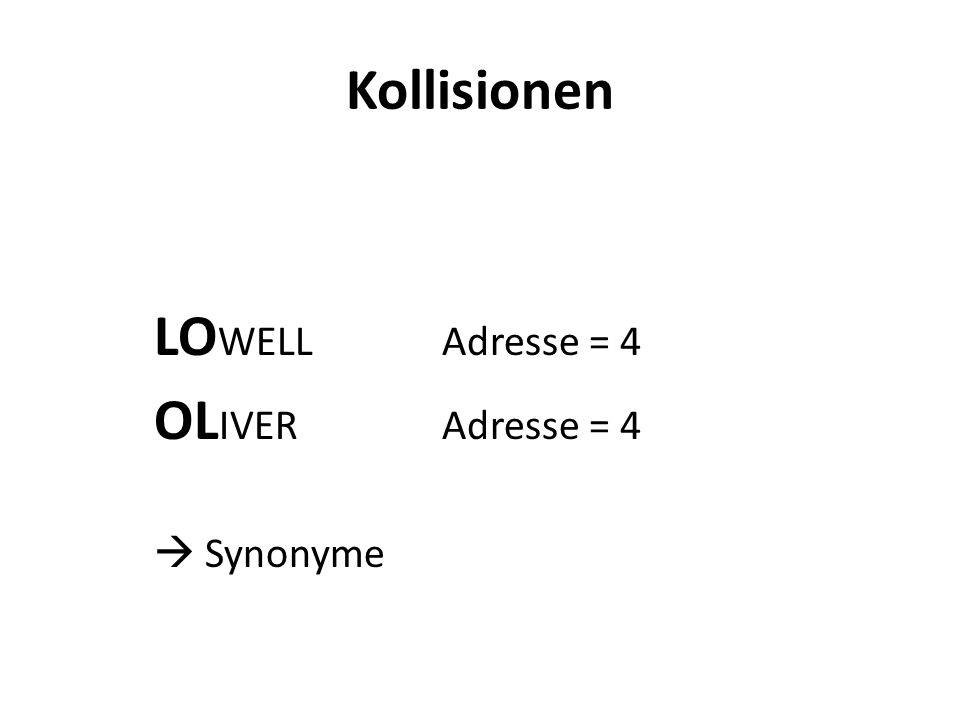 Kollisionen LOWELL Adresse = 4 OLIVER Adresse = 4  Synonyme