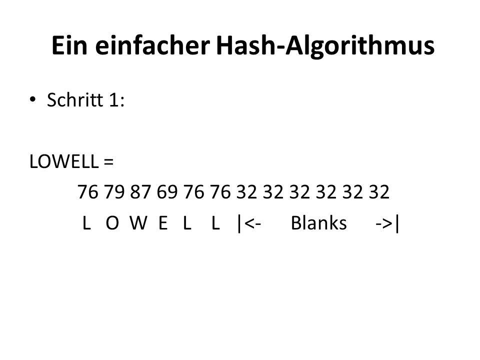 Ein einfacher Hash-Algorithmus