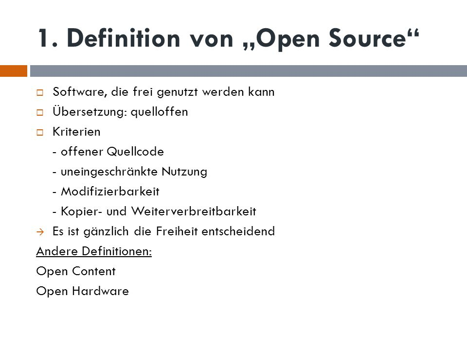 "1. Definition von ""Open Source"