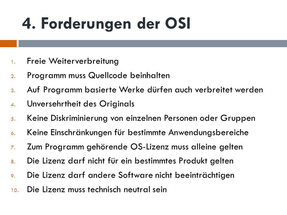 4. Forderungen der OSI Freie Weiterverbreitung