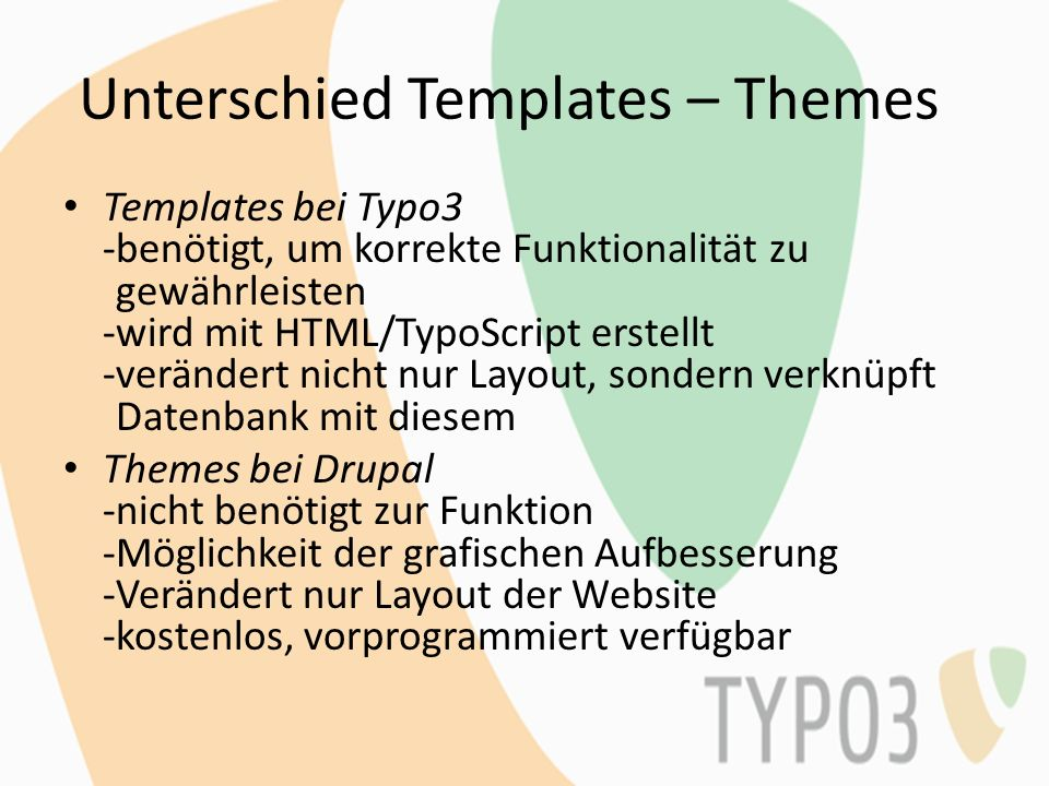 Unterschied Templates – Themes