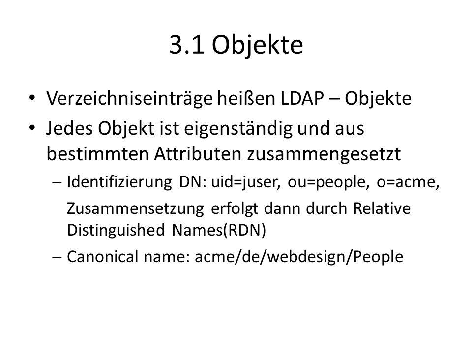 3.1 Objekte Verzeichniseinträge heißen LDAP – Objekte