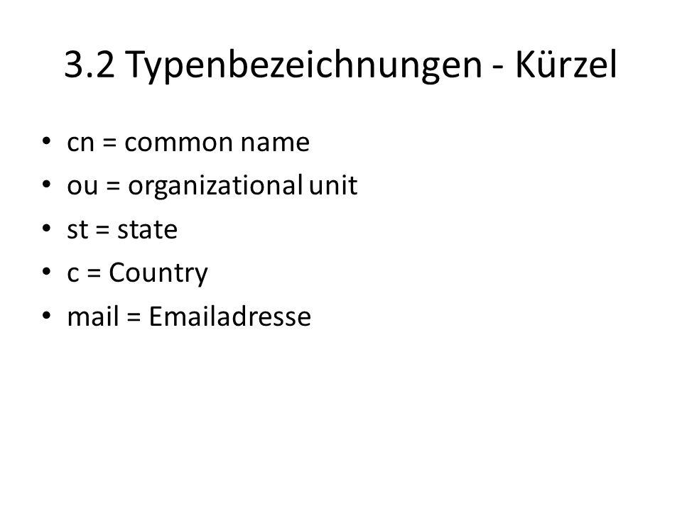 3.2 Typenbezeichnungen - Kürzel