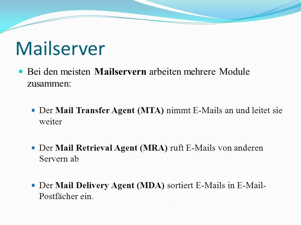 Mailserver Bei den meisten Mailservern arbeiten mehrere Module zusammen: Der Mail Transfer Agent (MTA) nimmt E-Mails an und leitet sie weiter.