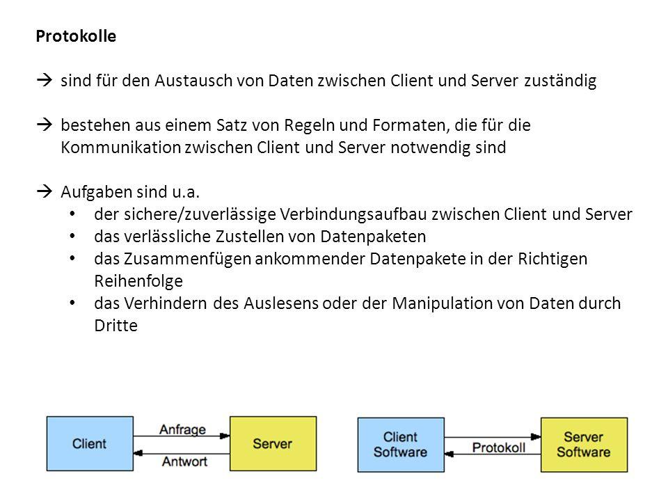 Protokolle sind für den Austausch von Daten zwischen Client und Server zuständig.