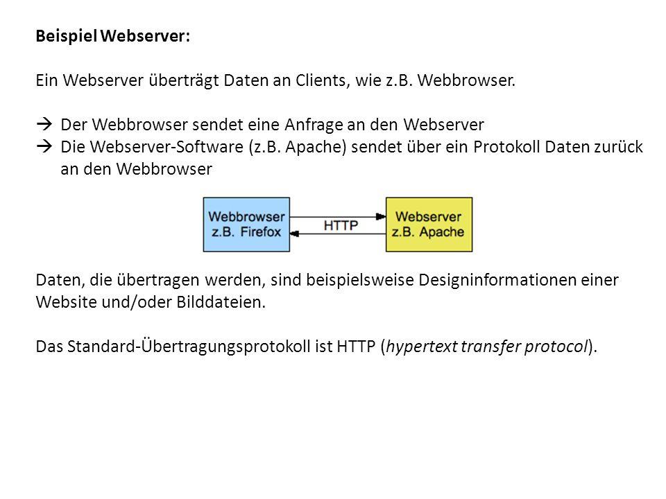 Beispiel Webserver: Ein Webserver überträgt Daten an Clients, wie z.B. Webbrowser. Der Webbrowser sendet eine Anfrage an den Webserver.