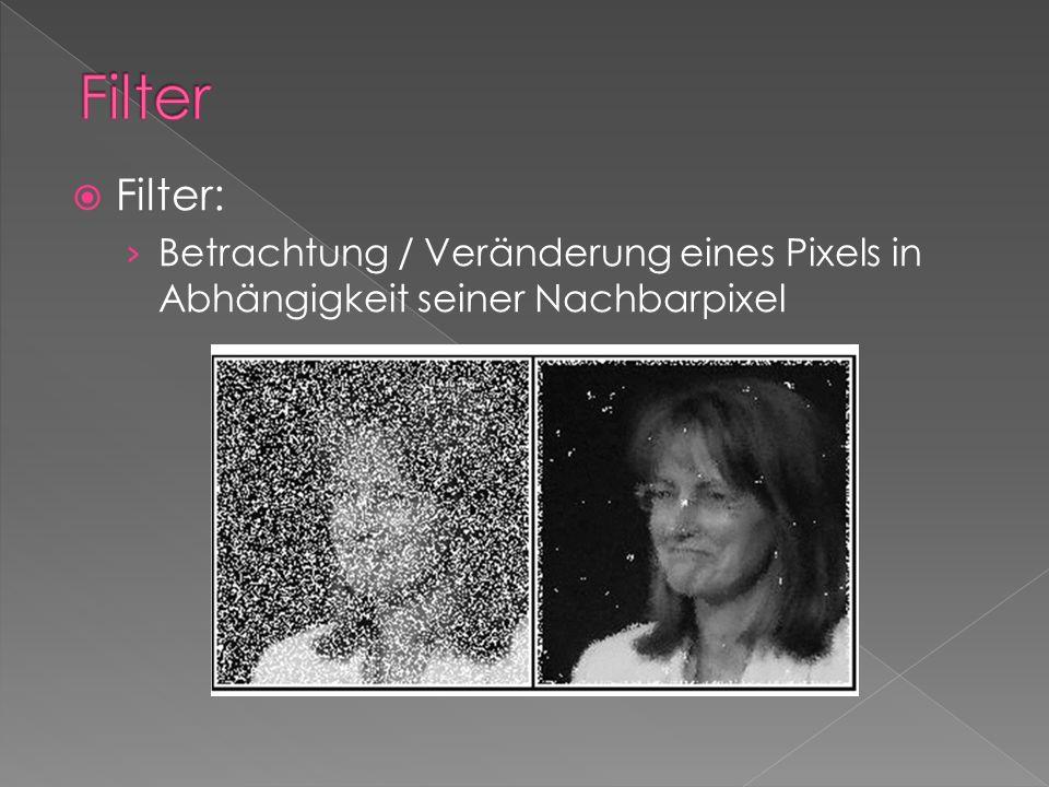 Filter Filter: Betrachtung / Veränderung eines Pixels in Abhängigkeit seiner Nachbarpixel