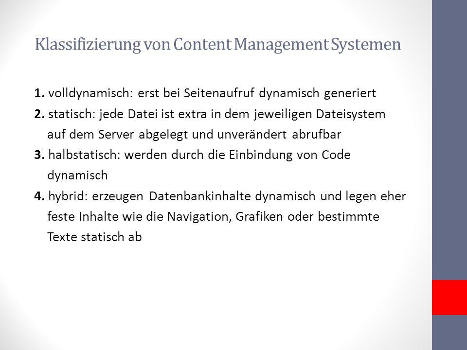 Klassifizierung von Content Management Systemen