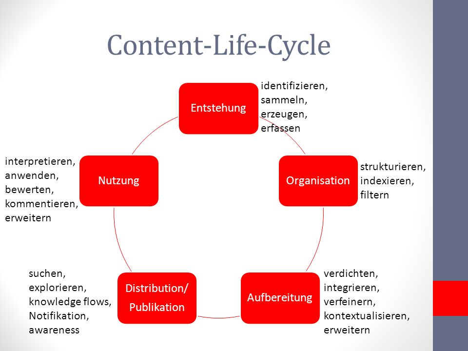 Content-Life-Cycle Entstehung Organisation Aufbereitung Distribution/