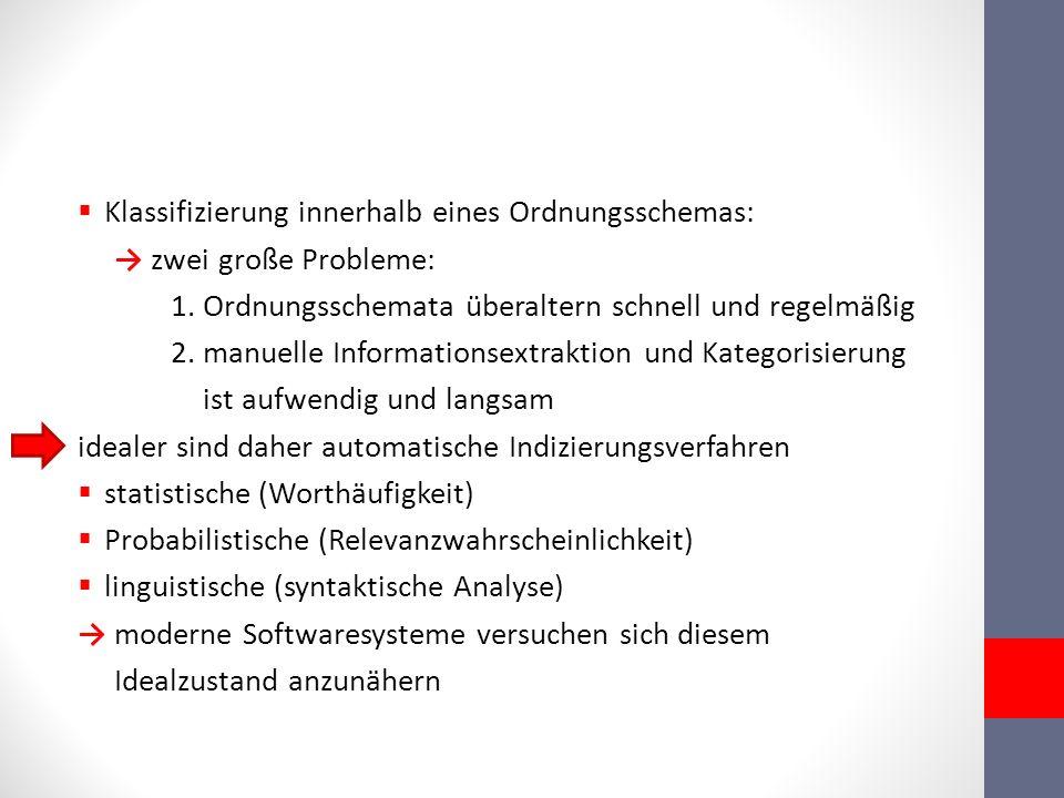 Klassifizierung innerhalb eines Ordnungsschemas: