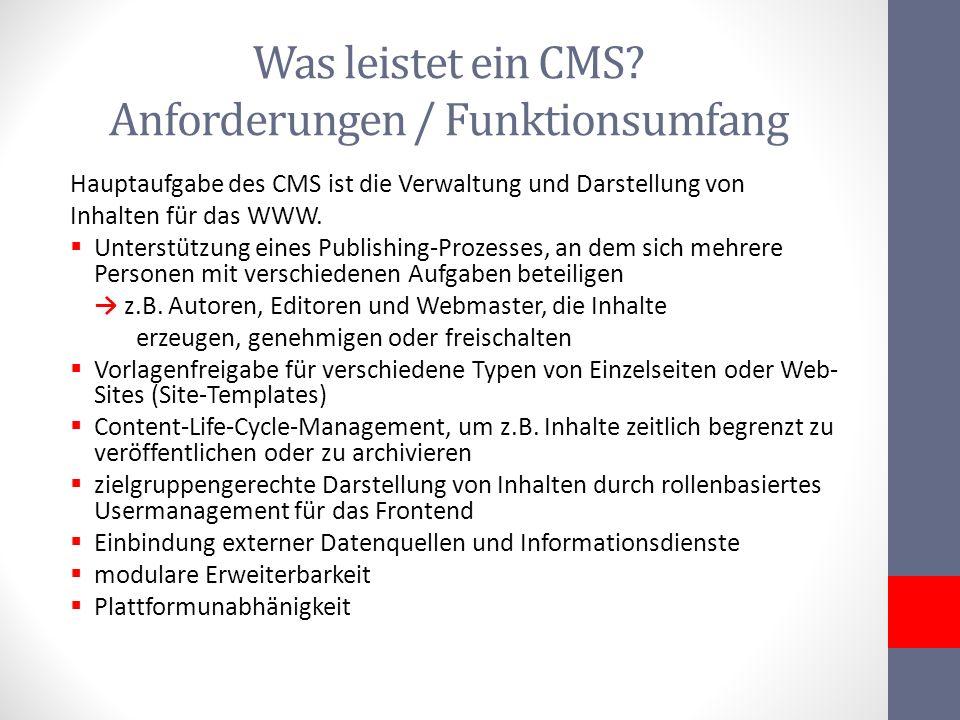 Was leistet ein CMS Anforderungen / Funktionsumfang
