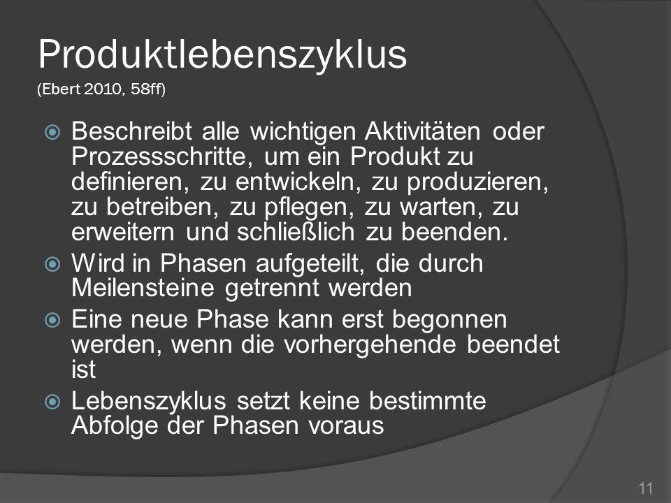 Produktlebenszyklus (Ebert 2010, 58ff)