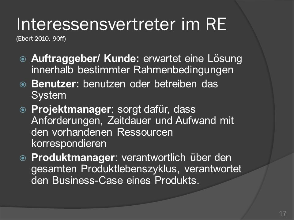 Interessensvertreter im RE (Ebert 2010, 90ff)