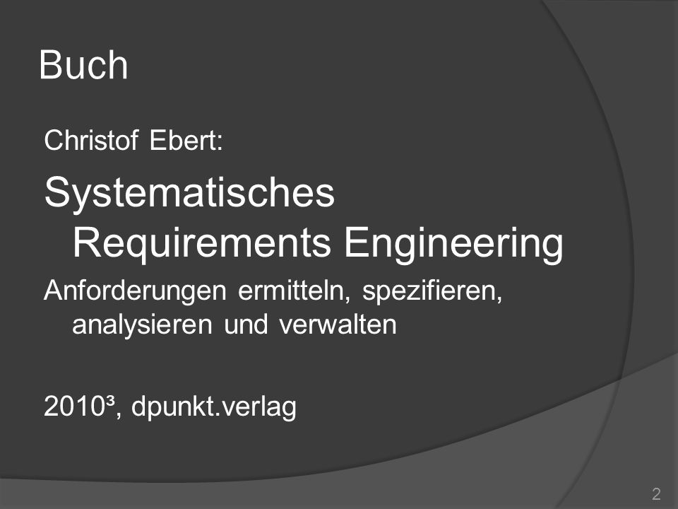 Buch Systematisches Requirements Engineering Christof Ebert: