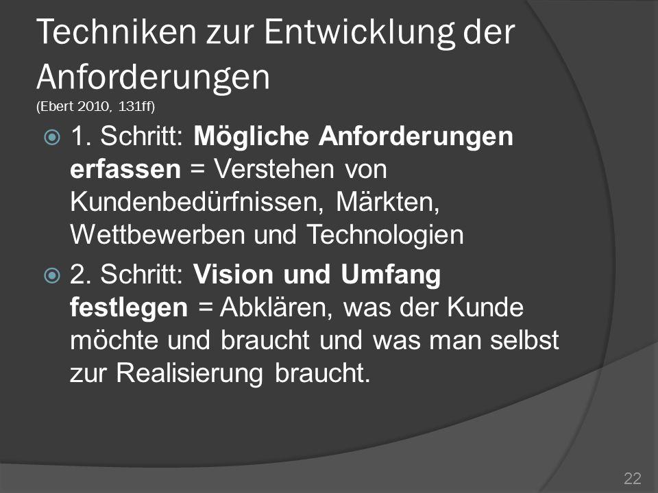 Techniken zur Entwicklung der Anforderungen (Ebert 2010, 131ff)