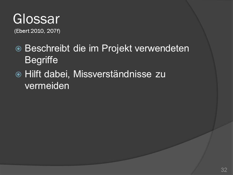 Glossar (Ebert 2010, 207f) Beschreibt die im Projekt verwendeten Begriffe.