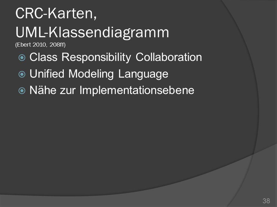 CRC-Karten, UML-Klassendiagramm (Ebert 2010, 208ff)
