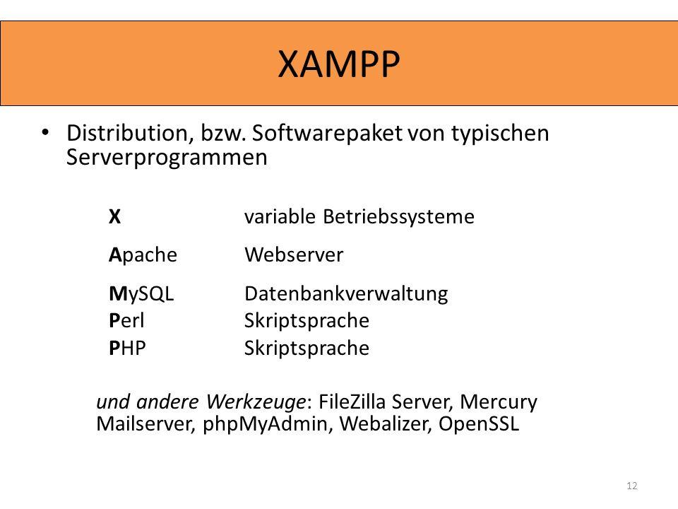 XAMPP Distribution, bzw. Softwarepaket von typischen Serverprogrammen