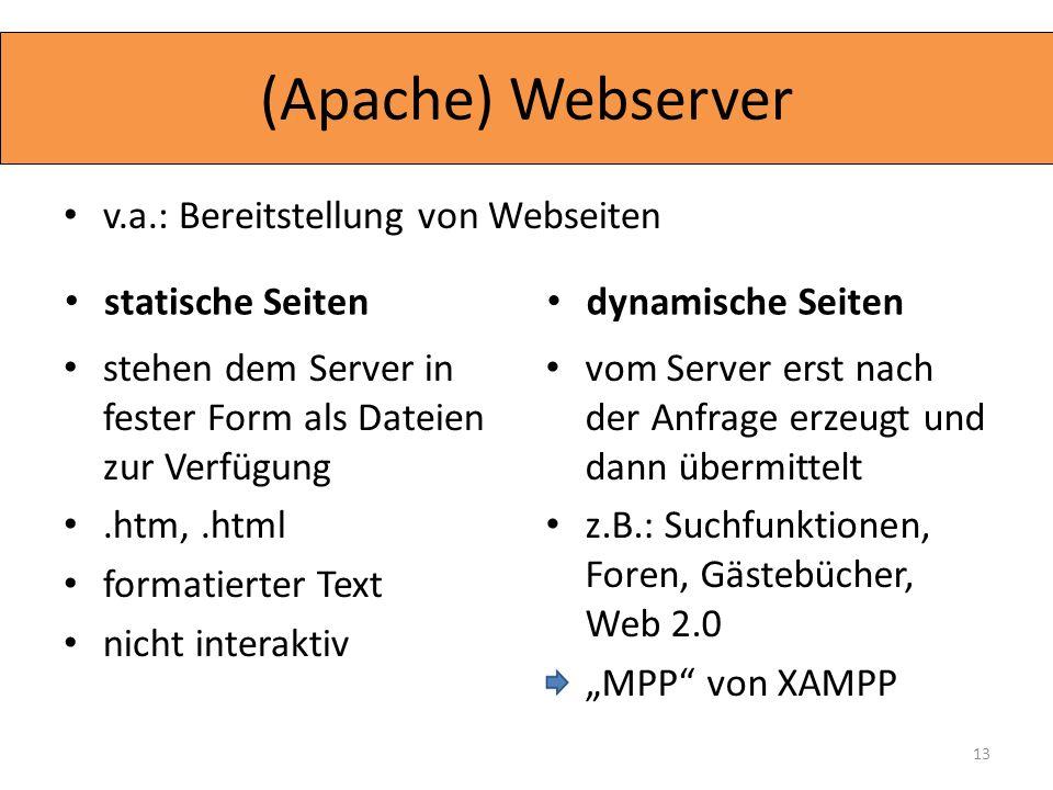 (Apache) Webserver v.a.: Bereitstellung von Webseiten statische Seiten