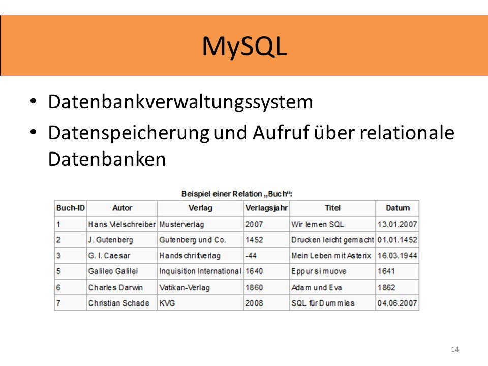 MySQL Datenbankverwaltungssystem