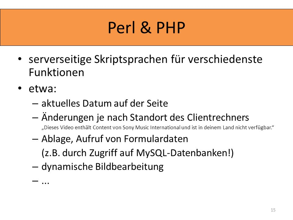 Perl & PHP serverseitige Skriptsprachen für verschiedenste Funktionen