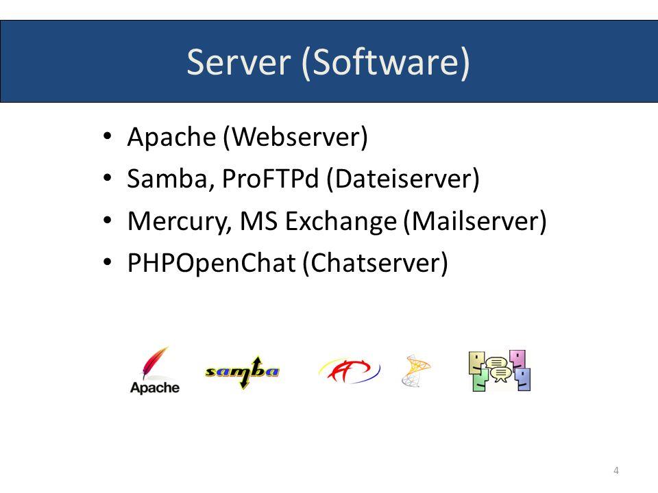 Server (Software) Apache (Webserver) Samba, ProFTPd (Dateiserver)