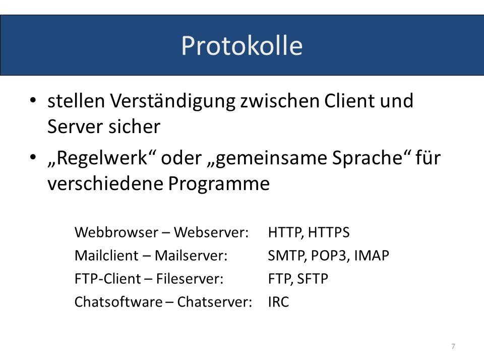 Protokolle stellen Verständigung zwischen Client und Server sicher