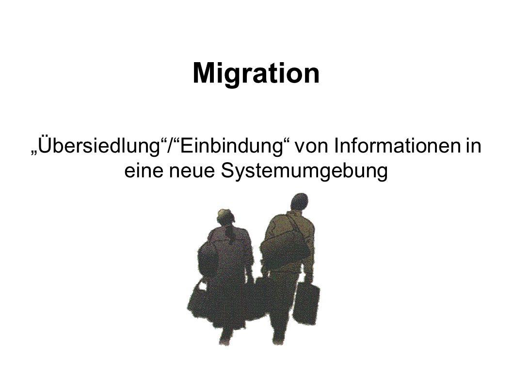 """Migration """"Übersiedlung / Einbindung von Informationen in eine neue Systemumgebung"""