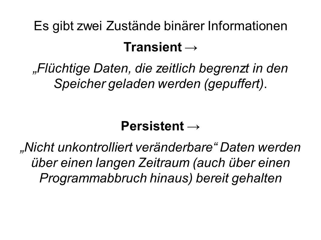 Es gibt zwei Zustände binärer Informationen