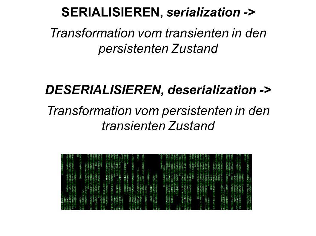 SERIALISIEREN, serialization ->