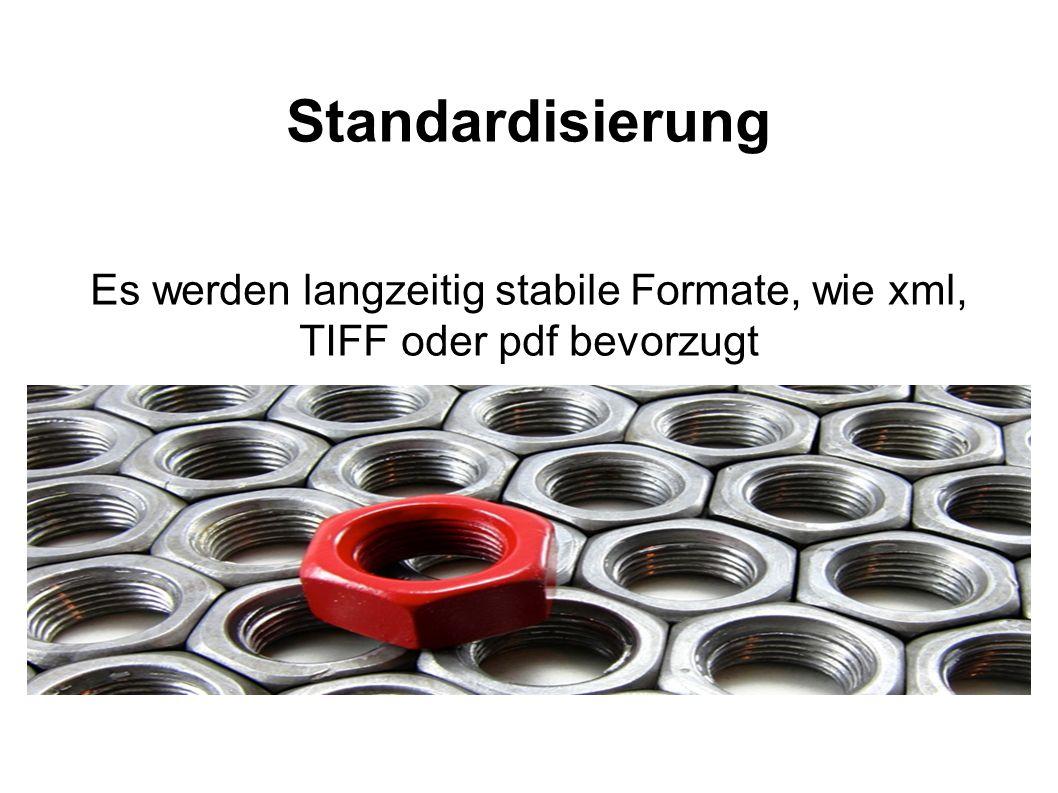Es werden langzeitig stabile Formate, wie xml, TIFF oder pdf bevorzugt