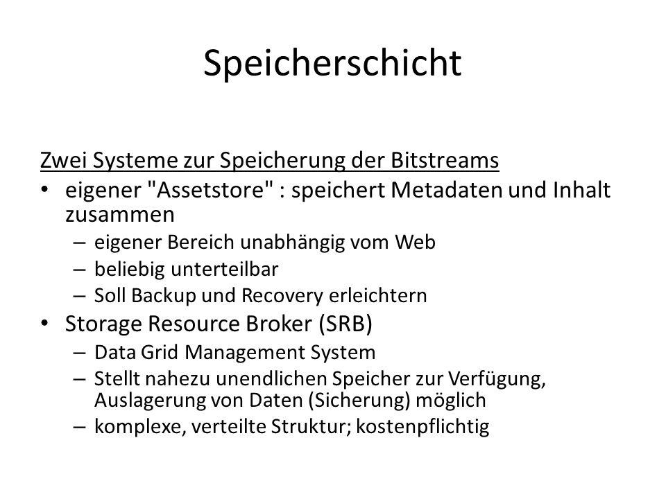 Speicherschicht Zwei Systeme zur Speicherung der Bitstreams