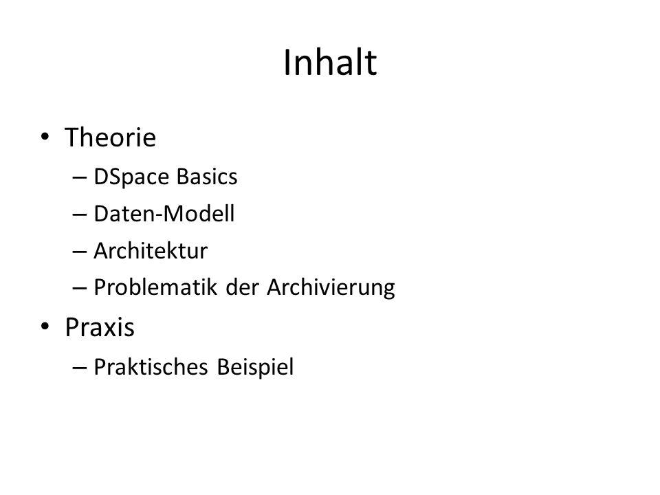 Inhalt Theorie Praxis DSpace Basics Daten-Modell Architektur