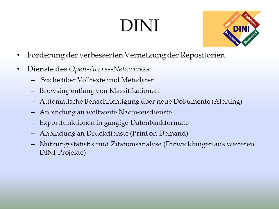DINI Förderung der verbesserten Vernetzung der Repositorien