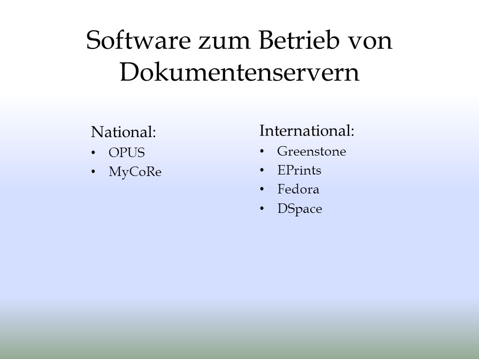 Software zum Betrieb von Dokumentenservern
