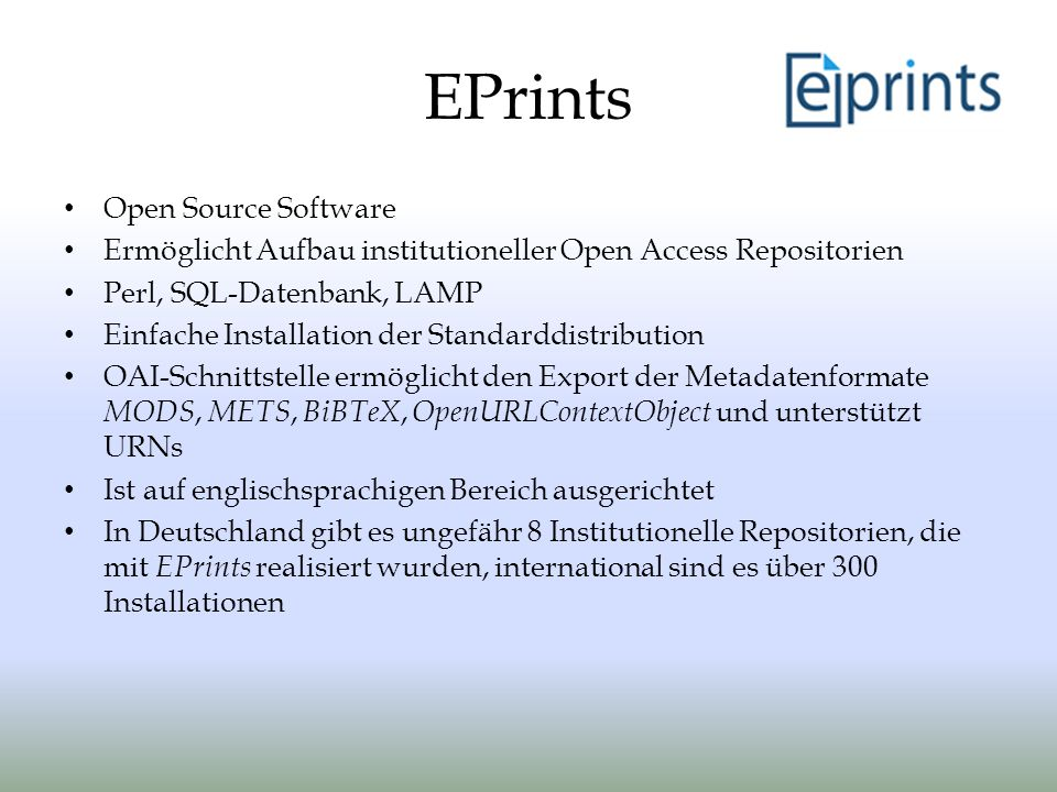 EPrints Open Source Software