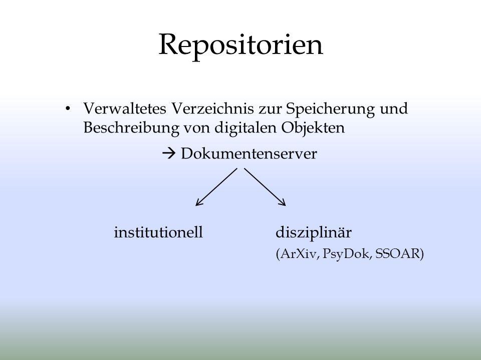 Repositorien Verwaltetes Verzeichnis zur Speicherung und Beschreibung von digitalen Objekten.  Dokumentenserver.