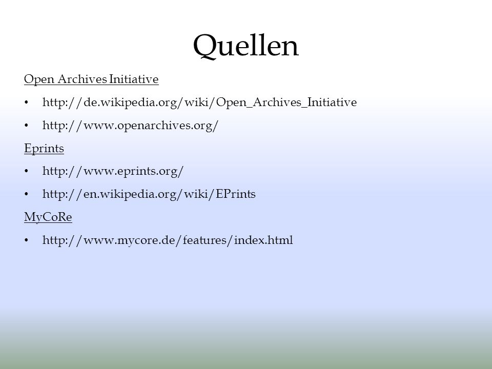 Quellen Open Archives Initiative