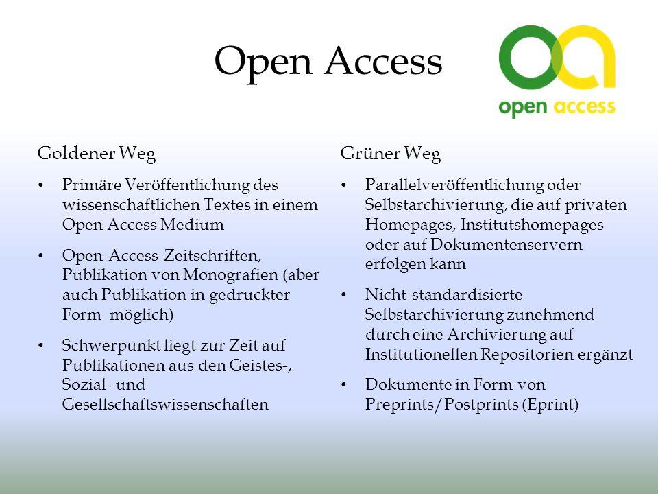 Open Access Goldener Weg Grüner Weg