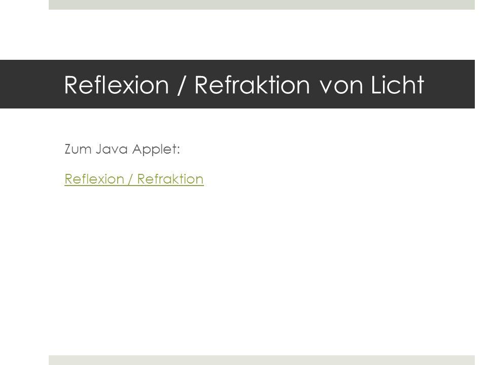 Reflexion / Refraktion von Licht
