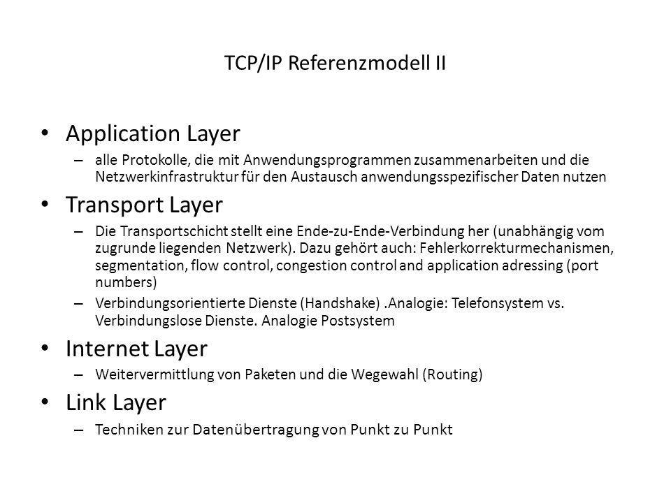 TCP/IP Referenzmodell II