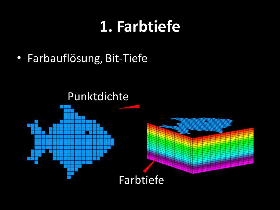 1. Farbtiefe Farbauflösung, Bit-Tiefe Punktdichte Farbtiefe