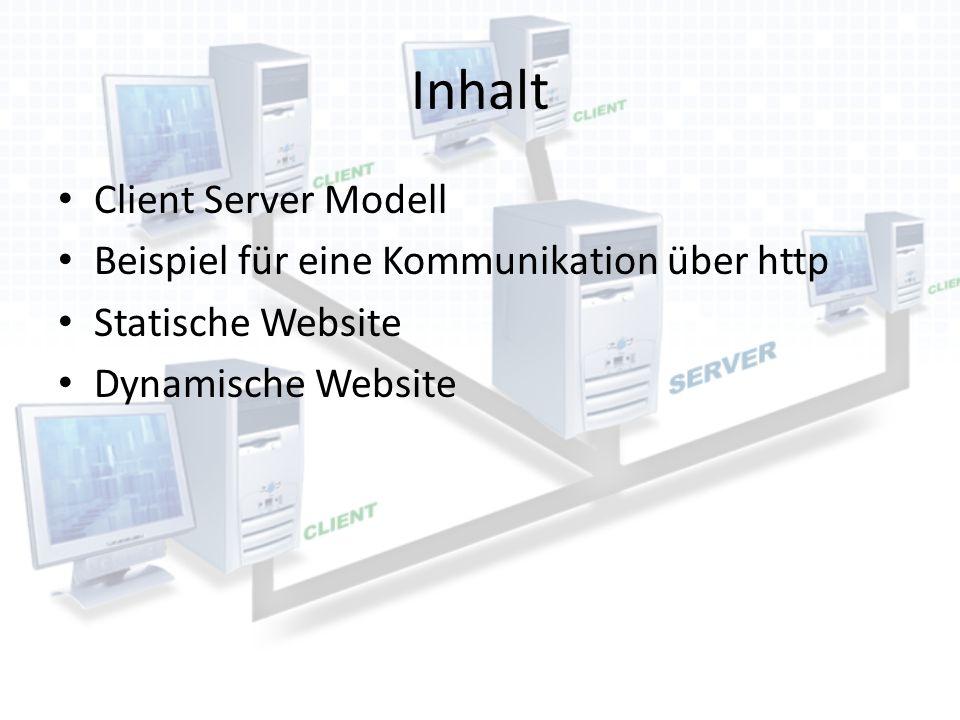 Inhalt Client Server Modell Beispiel für eine Kommunikation über http
