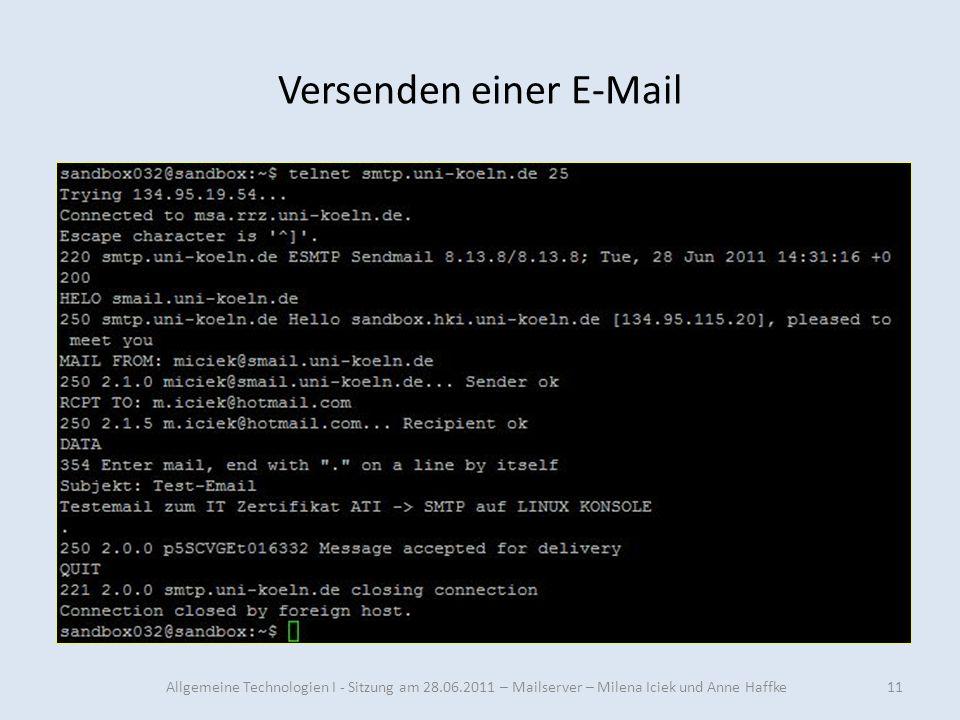 Versenden einer E-Mail