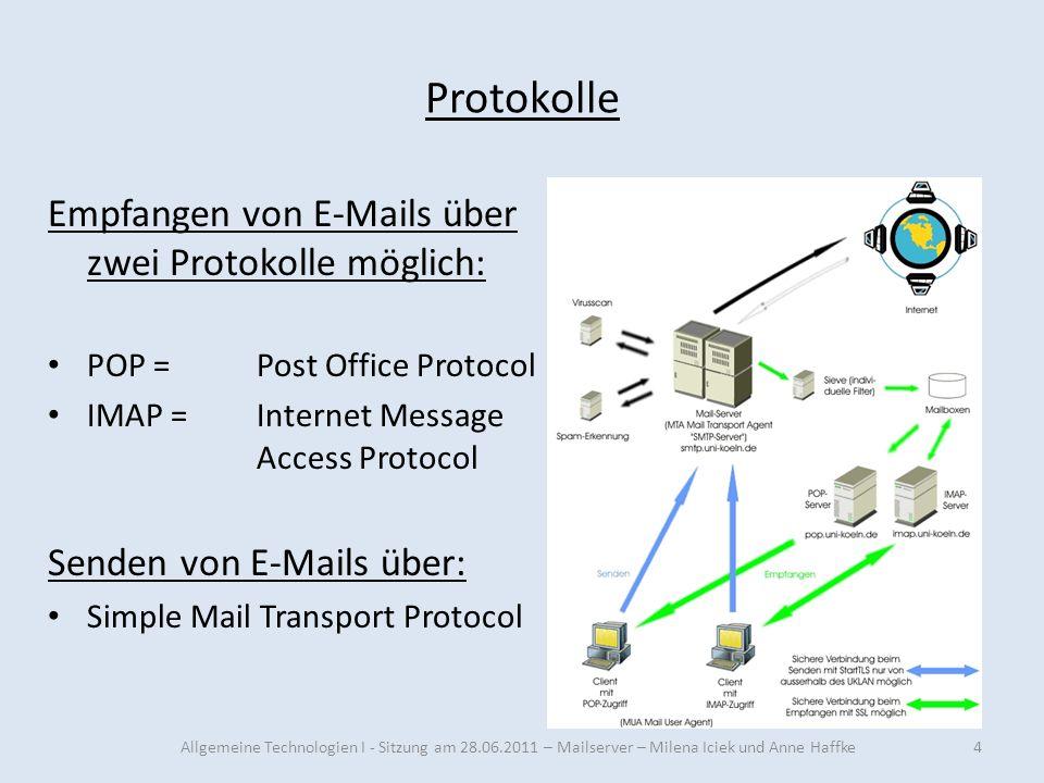 Protokolle Empfangen von E-Mails über zwei Protokolle möglich: