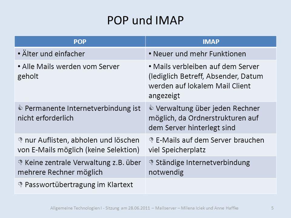 POP und IMAP Älter und einfacher Neuer und mehr Funktionen