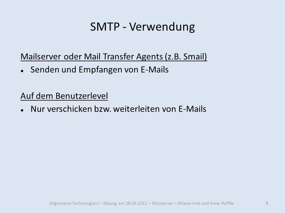 SMTP - Verwendung Mailserver oder Mail Transfer Agents (z.B. Smail)