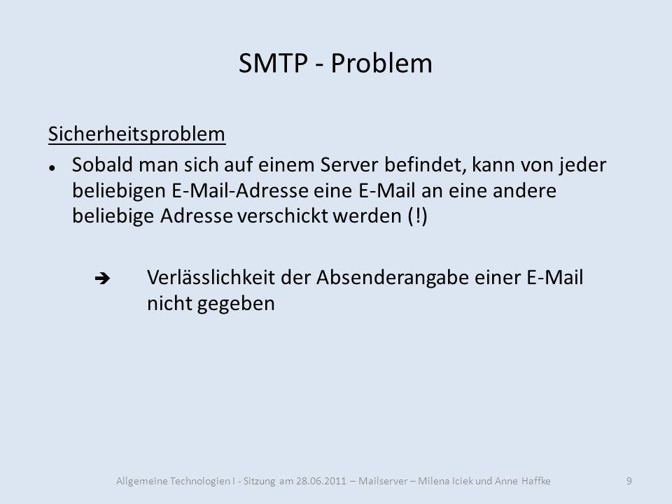 SMTP - Problem Sicherheitsproblem